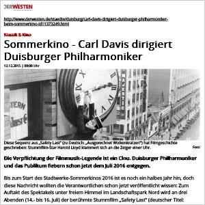 Sommerkino - Carl Davis dirigiert Duisburger Philharmoniker