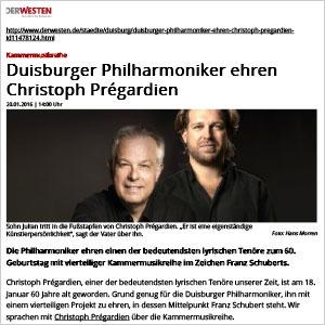 Duisburger Philharmoniker ehren Christoph Prégardien