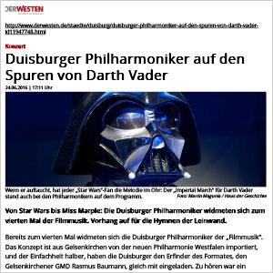 Duisburger Philharmoniker auf den Spuren von Darth Vader