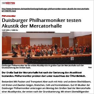 Duisburger Philharmoniker testen Akustik der Mercatorhalle