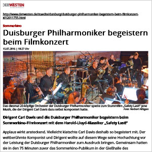 Duisburger Philharmoniker begeistern beim Filmkonzert