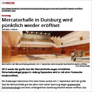 Mercatorhalle in Duisburg wird pünktlich wieder eröffnet