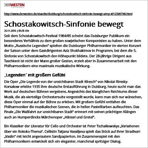 Der Westen: Schostakowitsch-Sinfonie bewegt (4. Philharmonisches Konzert)