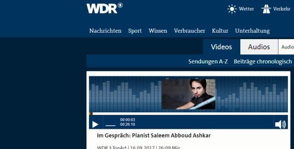 Saleem Ashkar im Interview auf WDR 3 TonArt
