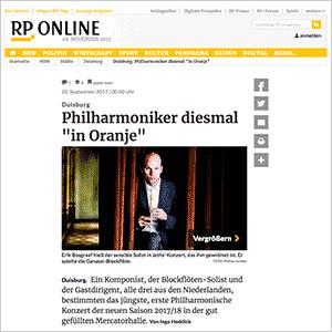 Philharmoniker diesmal 'in Oranje' ·RP Online vom 22.09.2017