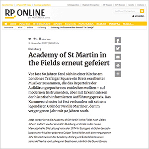 Academy of St Martin in the Fields erneut gefeiert · RP Online vom 03.11.2017