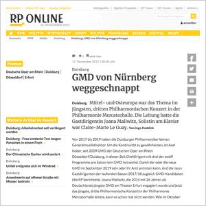 GMD von Nürnberg weggeschnappt · RP Online vom 17.11.2017