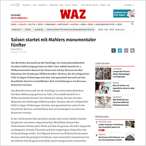 Saison startet mit Mahlers monumentaler Fünfter · WAZ vom 22.09.2017