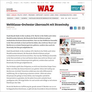 Weltklasse-Orchester überrascht mit Strawinsky · WAZ vom 02.11.2017