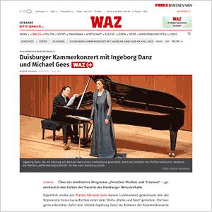 Duisburger Kammerkonzert mit Ingeborg Danz und Michael Gees · WAZ vom 15.04.2019