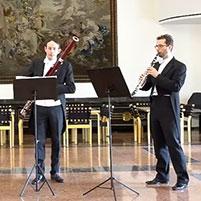 """Christoph Schneider (Klarinette), Carl-Sönje Montag (Fagott) und Andreas Oberaigner (Klarinette) spielen """"Voi che sapete"""" aus Mozarts """"Die Hochzeit des Figaro"""""""