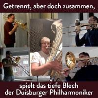 Getrennt, aber doch zusammen, spielt das tiefe Blech der Duisburger Philharmoniker