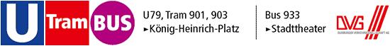 Duisburger Verkehrsbetriebe: U79, Tram 901, 903 König-Heinrich-Platz · Bus 933, Stadttheater