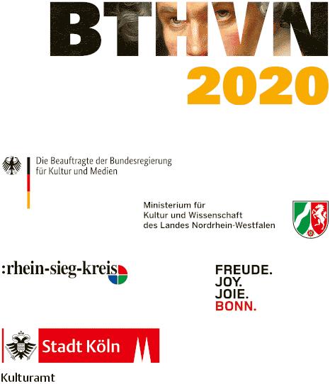 Ein Projekt im Rahmen von BTHVN 2020, gefördert durch die Beauftragte der Bundesregierung für Kultur und Medien, das Ministerium für Kultur und Wissenschaft des Landes Nordrhein-Westfalen, den Rhein-Sieg-Kreis und die Stadt Bonn sowie durch das Kulturamt der Stadt Köln