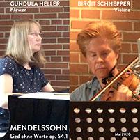 Felix Mendelssohn Bartholdys Lied ohne Worte, gespielt von Gundula Heller und Birgit Schnepper