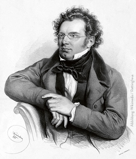 Franz Schubert, Lithografie von Josef Kriehuber · Abbildung: Wikimedia / Rettinghaus